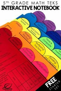5th grade math interactive notebook tabs free