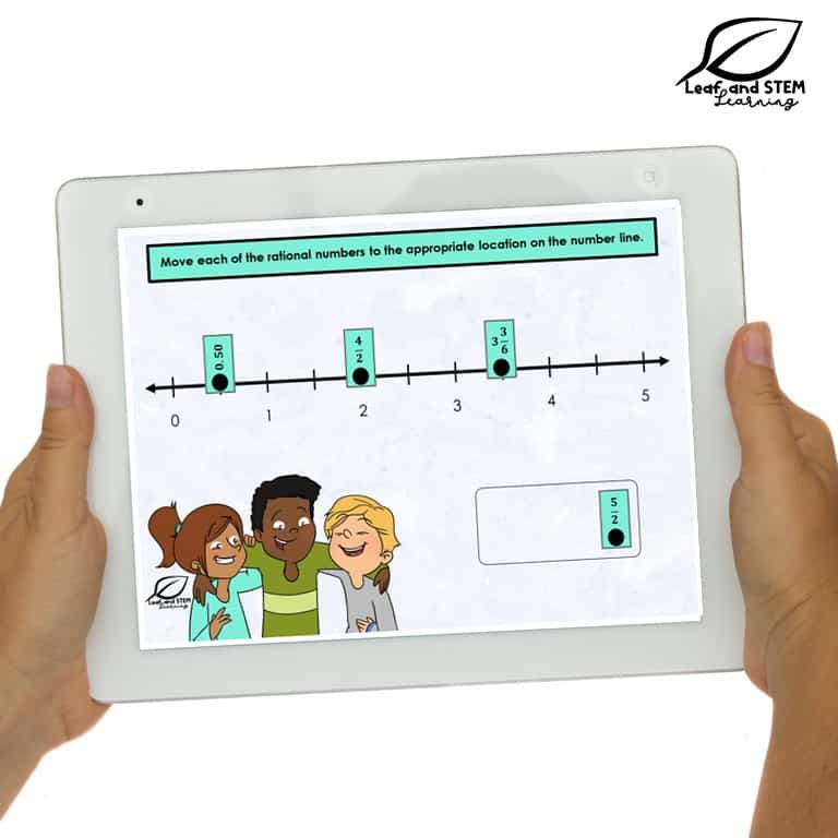 6th grade digital task card from Boom Learning with a number line