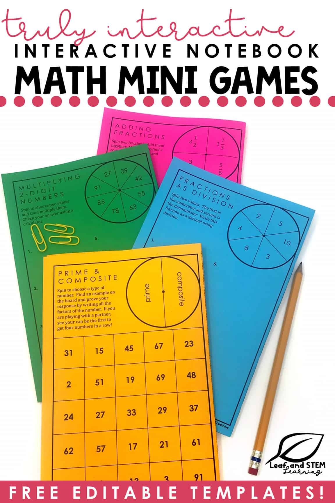 Truly Interactive. Interactive Notebook Math Mini Games. Free Editable Templates!
