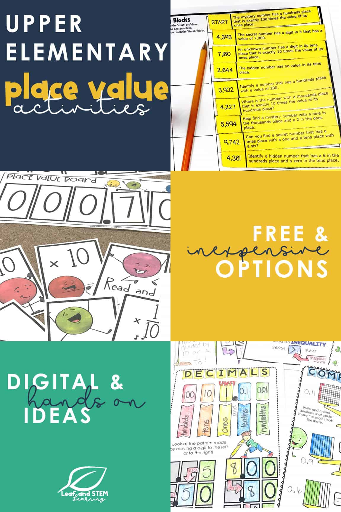 Upper Elementary Place Value Activities | free and inexpensive options | digital and hands on ideas