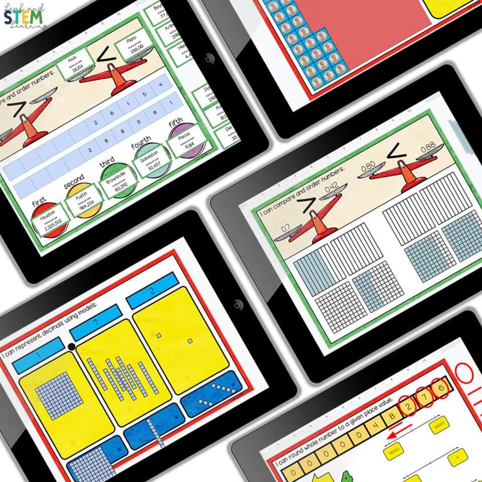 Place value digital work mats